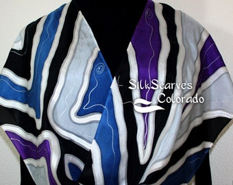 Hand Painted Silk Scarf. Silver Gray, Purple, Blue & Black Handmade Scarf WINTER SONG. Size 11x60 in. Silk Scarves Colorado. Hand Dyed Scarf
