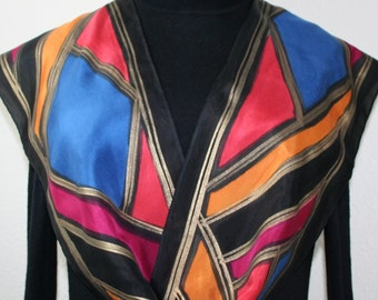 Black Silk Scarf. Hand Painted Silk Scarf. Blue Red Handmade Silk Scarf GEM STONES, in 3 SIZES. Gift-Wrapped.