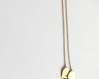 minimal cute ''Two hearts in chain'' pendant