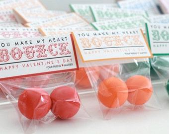 VALENTINE PRINTABLES // You make my heart BOUNCE // Bouncy Ball Valentine // no sugar valentine treat // diy valentine // bouncy ball treat