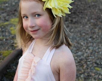 Yellow flower clip, or yellow flower headband, large flower clip, large flower headband,flower headband,flower girl,photo prop