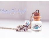 Butterfly Tiny glass Bottle Necklace. Glass Vial necklace miniature Bottle Pendant Cute Necklace butterfly necklace glass vial pendant
