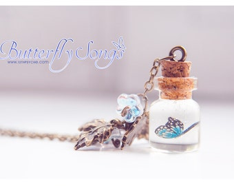 Butterfly glass Bottle Necklace. Glass Vial necklace, Cute pendant, butterfly necklace, personalized necklace, gardening gift for her