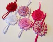SALE- Headband Set, Valentines Day Set, Shabby Chic Rose Headbands, Infant Headband, Newborn Headband, Children's Headband, Baby Gift Set