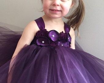 Plum flower girl tulle dress, eggplant flower girl dress, girls eggplant dress, plum shabby and silk flower wedding dress, plum wedding