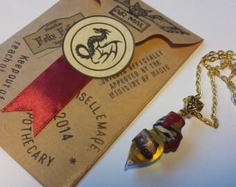 Felix Felicis Potion Necklace - Harry Potter Inspired - Glass Bottle Pendant