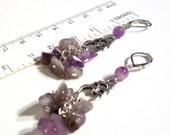 Amethyst Gemstone Owl Earrings - Available in Different Genuine Gemstones
