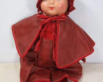 RARE Red Riding Hood Antique Doll - Oil Cloth Clothes Composition Head