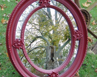 Oval Mirror ,  Ornate Wall Mirror, Nursery Mirror,  CoTTage Decor,  Shown in a Garnet Color, Or Choose Color Size 28 x 24