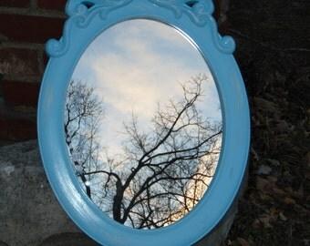 Oval Mirror, Aqua Mirror, Nursery Mirror, Shabby Chic, Buy in Aqua or Choose Color 23 1/2  inches Tall