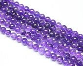 Amethyst Smooth Round Ball Beads Strand, 14 inches, 6-7mm, SKU743/S