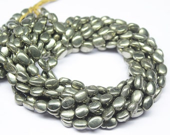Pyrite Smooth Polished Flat Oval Beads Strand, 13 inches, 8-10mm, SKU9273/S