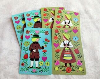 6 Pennsylvania Dutch Couple Vintage Playing Cards - 3 Boy, 3 Girl