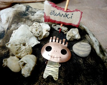 JUANKI, cute copper and brass mini monster brooch. Striped body and spiky hair