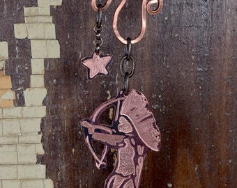 Tootsie Pop Indian - Hand Engraved Whimiscle Indian Shooting a Star Necklace in Copper - Wander5