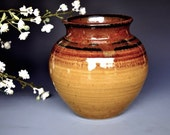Soto Amber Wide Mouth Pottery Flower Vase Handmade A