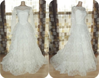 Vintage 50s Wedding Dress | 1950s Wedding Dress | Lace Tulle | Tiered Sweetheart | Cupcake Wedding Dress | Ball Gown | Sz XL LARGE 12/14