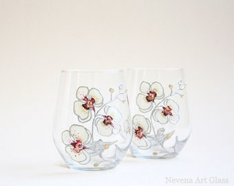 Stemless Wine Glasses, Whiskey Glasses, Goblets, Orchids Glasses, Wedding Glasses, Hand Painted, Set of 2
