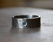 London Blue Topaz Mens Wedding Band Recycled Hammered Sterling Silver