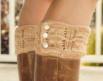 KNITTING PATTERN PDF file for Lace Boot Cuffs or Boot Toppers-Ginger Root-girls and women's size