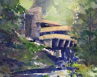 watercolor painting- Summer at Fallingwater- Frank Lloyd Wright- art print