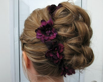 Wedding accessories, Plum flower hair pins, set of 4 Bridal hair flowers