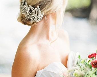 Maris Swarovski Crystal Headband  Silver Bridal Headpiece  Wedding
