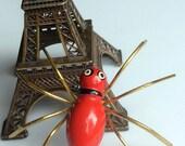 Big Vintage Red Enamel Spider Brooch - Creepy Crawlies!  Book Piece