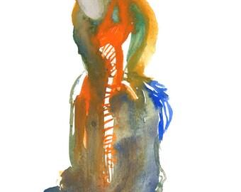 "Small Original Gouache Watercolor Figure Painting Modern Art Wall Decor 6"" x 6"" - 253"