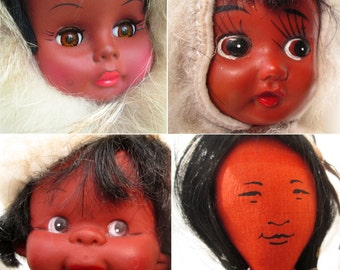 Vintage 60s Vinyl Inuit Eskimo Native American Doll Collection - Indian Ethnic Parka Winter Costume Plastic Cute Brown Skin Dark Skin Dolls