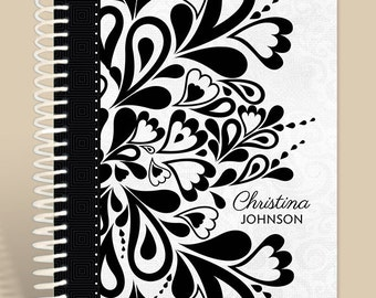 Black and White Retro Journal Personalized / Prayer Journal / Lined Notebook