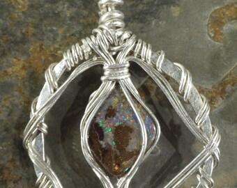 Yowah Boulder Opal Hoop Pendant