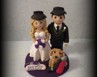 Wedding Cake Topper, Custom Cake Topper, Personalized, Polymer Clay, Bride and Groom, One Pet, Welder, Fire Extinguisher, Keepsake