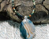 "Green and orange crack agate necklace 18"" long reversible dragon veins agate pendant semiprecious stone jewelry in a colorful gift bag 10949"
