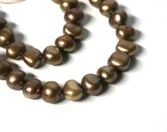 Brown Freshwater Pearls, 8mm flat sided potato beads, Cinnamon Mix, Full 16 inch strand (1071P)