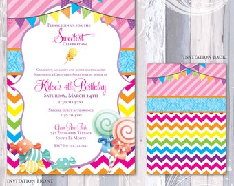Candy Candyland Party Invitation