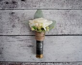 Shotgun Shell Wedding Boutonniere with Ivory Roses and Lamb's Ear