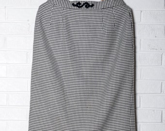 Houndstooth Pencil Skirt Vintage Wool