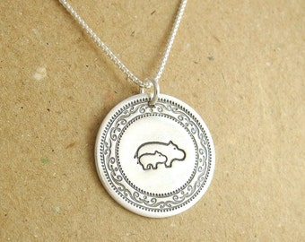 Mother and Baby Hippo Necklace, New Mom Necklace, Fine Silver, Sterling Silver Chain, Made To Order