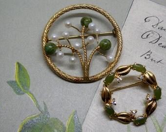 2 Jade Circle Pins WINARD Gold Filled Brooch    MA12