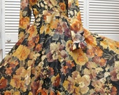 HOLD    Vintage 60s Womens Maxi Formal Dress/Watercolor Print/Prom Bridal Party Autumn Color Cocktail Hostess 70s Theater Costume Warm Tones