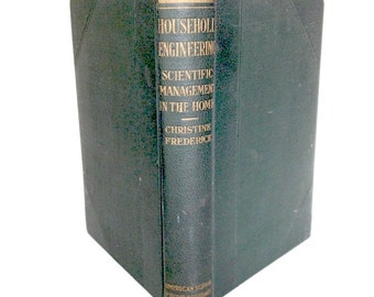 Vintage home economics book, Household Engineering, 1919 signed, Christine Frederick, marbled paper, very hard to find