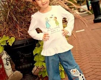 Girls Snowman Applique Ruffle Denim Jeans Boutique Pants
