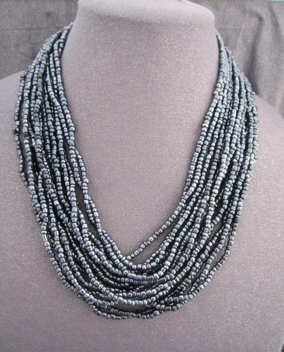 Charcoal Gray Multi Strand Beaded Necklace
