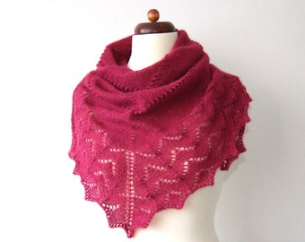 winter scarf knitted triangle red shimmering lacy