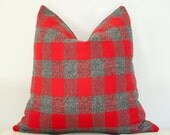 Plaid Red and Gray pillow cover Limited edition PRE ORDER now before they are gone! Fabric is finally here!