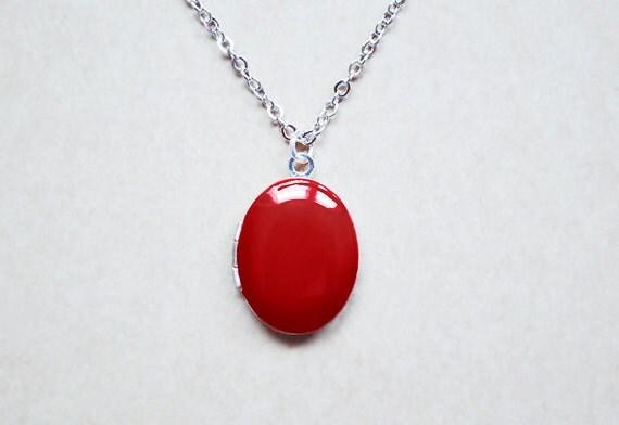 Ruby Red Enamel Locket - Photo Keepsake Necklace