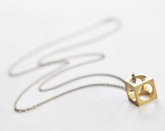 Geometric Cube Necklace // Geometric Necklace // Cube Jewelry // Geometric Jewelry // Boyfriend Girlfriend // Geometric
