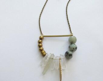 Quartz, Chevron, Geometric Necklace // Geometric Necklace // Geometric Jewelry