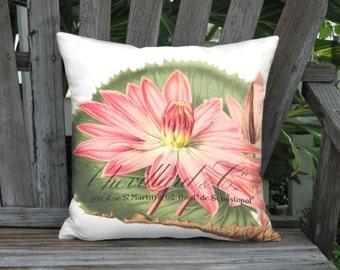 Chevillard Waterlily Pillow Cover - French Cottage Botanical Pillow - 16x 18x 20x 22x 24x 26x 28x Inch Linen Flower Cushion Cover